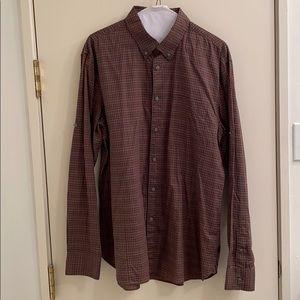 John Varvatos brown plaid shirt
